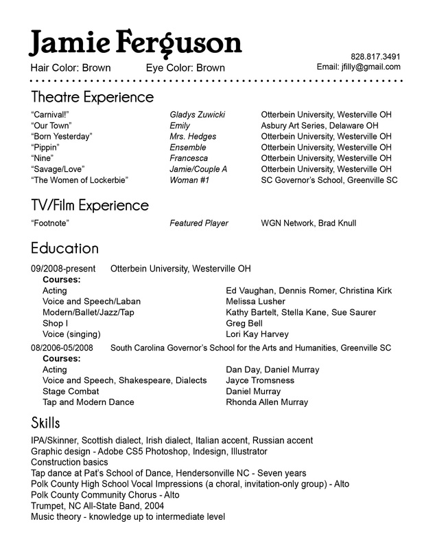 Diy acting resume